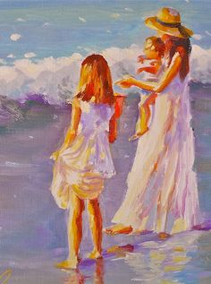 Mother and Children at beach ~ l o v e .. art work by CECILIA ROSSLEE