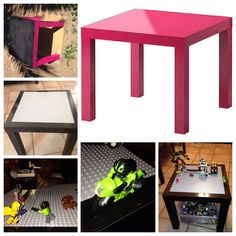 Transformed this pink IKEA table into a Lego station for my lil guy. 1st I spray painted it black but noticed the edges were easily scratched so I added black duct tape around Lego baseplate & discovered tires grip & Legos don't slip off now. SCORE! Purchased table for $1.50 & the rest was history! My son was in shock & amazed. Total spent: $15.50 (baseplate $14.00) the smile on my son PRICELESS! Happy 6th bday lil daddy!!