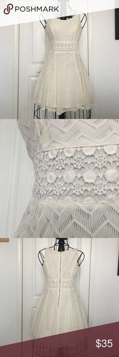 White lace dress Cute off-white/cream sun dress! No stains/tears in lace, great condition! Tag says size 3, but will fit XS/S best! No trades, offers welcomed! Sequin Hearts Dresses Mini