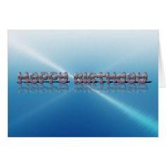 Happy Birthday Card Blue Faux Metallic Text - birthday gifts party celebration custom gift ideas diy