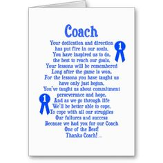 Coach Thank You Card from Zazzle.com