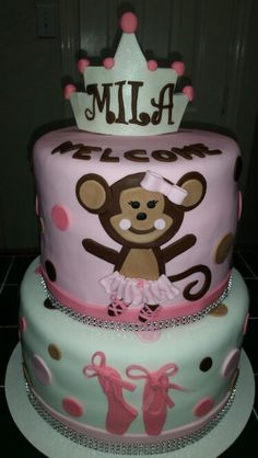Amy's Crazy Cakes - Monkey Ballerina Baby Shower Cake with bling and ballerina shoes