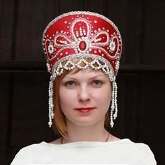 russian kokoshnik headdress   Russian folk Viktoria Kokoshnik Red Headdress