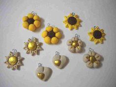 lotto 10 ciondoli sole girasole cuore fiore handmade charms