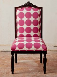 new twist on an antique chair...Big Pink Polka Dots
