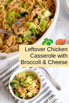 Make this Cheesy Chicken and Broccoli Casserole with leftover chicken and dinner will be ready in minutes! Chicken Broccoli Cheese, Broccoli Cheese Casserole, Cheesy Chicken, Leftover Chicken Casserole, Leftover Chicken Recipes, Quick Weeknight Meals, Easy Casserole Recipes, Dinner Ideas, Breakfast Recipes
