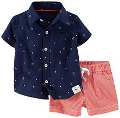 Carter's® Baby Boys' Of July Poplin Top & Canvas Shorts Outfit Set Little Boy Outfits, Toddler Outfits, Baby Boy Outfits, Organic Baby Clothes, Cute Baby Clothes, Outfits Niños, Kids Outfits, Fall Outfits, Baby Boy Fashion