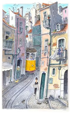 JoanMira - 1 - World: Pintura - Aguarela - AtelierGH on DeviantArt : Pas... Building Illustration, Travel Illustration, City Art, City Sketch, Artist Sketchbook, Landscape Drawings, Watercolor Sketch, Urban Sketching, Travel Posters