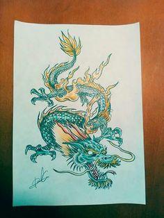 Dragon a color Diseño disponible para tatuar