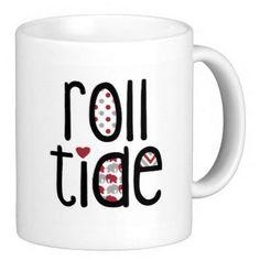 University of Alabama Roll Crimson Tide Gift Mug Football ($15) ❤ liked on Polyvore featuring home, kitchen & dining, drinkware, drink & barware, home & living, mugs, pink, ceramic mugs and pink mug