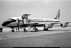 Seaboard World Airlines Douglas Jet Trader photographed at Dusseldorf Rhein-Ruhr (DUS / EDDL) by Peter Scharkowski Mcdonald Douglas, Douglas Dc 8, Douglas Aircraft, Cargo Aircraft, Air Photo, Cargo Airlines, Aircraft Pictures, Aviation, Jet