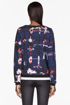 msgm navy & red flower stripe sweatshirt