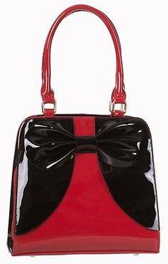 """Dancing Days by Banned 50s Rockabilly Varnished """"Lila"""" Handbag Shoulder Bag RED"""