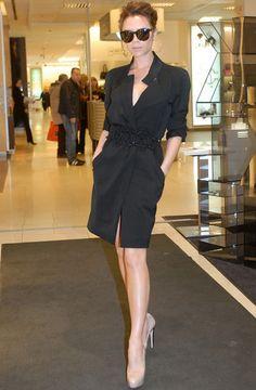 Victoria Beckham black trench dress, nude heels