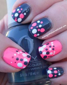 Ashley is PolishAddicted: Grey and Neon Pink Polka Dots! - I havent done polka dots in ages!