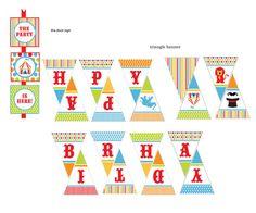 Circus Theme Birthday Party Kit editable por eloycedesigns en Etsy