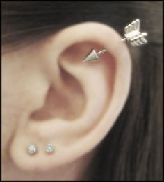 Types of Ear Piercings, Helix Piercing with Arrow Helix Earring