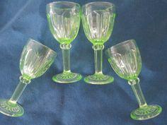 Vintage Green Vaseline Uranium Cordial Barware by BitofHope
