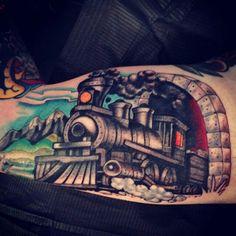 Train tattoo by Kyle Walker - Guru Tattoo - San Diego, CA.