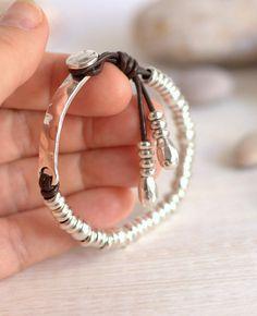 2ab40803c027 Boho Silver bracelet leather charm bracelet 50 style Bohemian Joyeria De  Plata