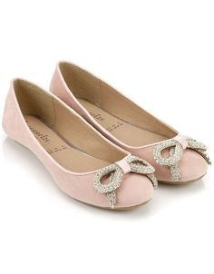 Pink ballet flats with diamante bows - $50 from Accessorize!