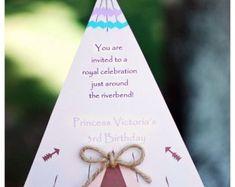 Pocahontas Tee Pee Princess Birthday Invitation or Camping Party Invitation Pocahontas Birthday Party, Princess Birthday Invitations, Camping Party Invitations, Princess Victoria, You Are Invited, Party Cakes, 3rd Birthday, First Birthdays, Place Card Holders