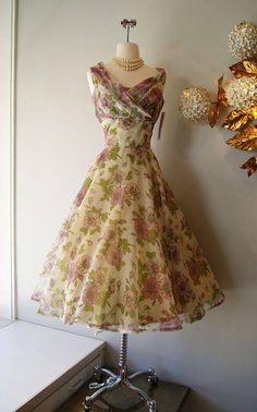 1950's Purple Floral, Chiffon Cocktail Dress