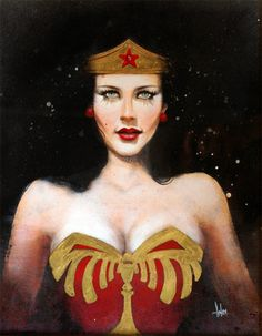 """First Crush: Wonder Woman"" by Andrea Wicklund for the 'Hey Geek Girl!' art show at the LTD Gallery in Seattle, WA, which opens 5 May 2012."