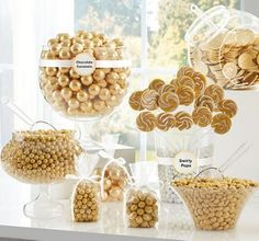 Gold Chocolate Sixlets are tasty pearls of chocolate wrapped in a gold candy coat! These Gold Chocolate Sixlets have a crunchy candy coating and are great for a gold candy buffet. Candy Bar Party, Candy Bar Wedding, Gold Wedding Theme, Gold Candy Buffet, Candy Buffet Tables, Gold Dessert Table, Golden Birthday Parties, 60th Birthday Party, Gold Birthday