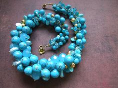 Turquoise Cluster Necklace by Molly Schaller featuring #Halcraft #BeadGallery