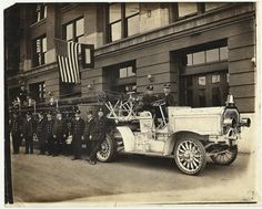 1900s Antique Fire Truck Photo Firemen in by AnnesAccumulations