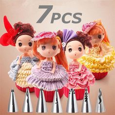 7PCS Russian Nozzles dolls Skirt Stainless Steel Icing Piping Nozzle Cake baking Flower Pastry DIY dessert Decorating Tips tools