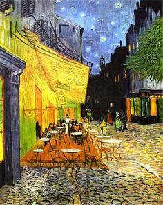 """Masters of Art: Vincent Van Gogh """" Cafe Terrace At Night"""", 1888 Canvas Giclee Print"""