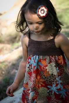 Crochet Dress Pattern - Make Your Own Girls Crochet and Fabric Summer Dress - Pattern Tutorial FOUR Sizes 4 to 7 Yrs Emailed2U. $5.99, via Etsy.
