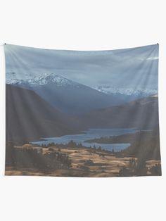 """Calm Mountains"" Tapestry by ind3finite | Redbubble Tapestry Bedroom, Wall Tapestries, Tapestry Wall Hanging, Mountain Landscape, Textile Prints, Vivid Colors, Bedroom Decor, Calm, Mountains"