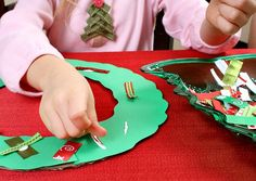 Ribbon Wreath Craft for Kids. Christmas-themed fine motor work. {Fantastic Fun and Learning}