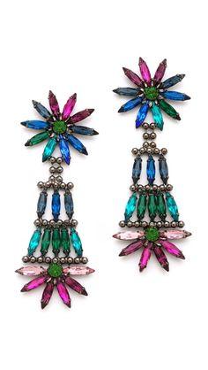 Dannijo - art deco earrings   #turquoise #pink #blue