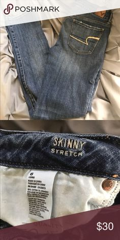 AE skinny stretch jeans.  Like new - worn 2X.😍 Cute and comfortable AE skinny jeans.  Size 6L. American Eagle Outfitters Jeans Skinny
