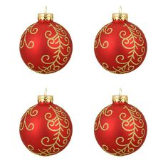 "4ct Matte Red Glittered Gold Flourish Designed Glass Ball Christmas Ornaments 2.5"" (65mm)"