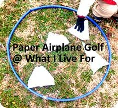 Paper Airplane Golf We could have paper airplane making stations. Then we could have different baskets all over the student room Students can write their name on their planes and try to get them in the baskets throwing them from the mez Student with the Camping Games, Camping Activities, Camping Crafts, Summer Activities, Primary Activities, Party Activities, Party Games, Tiger Scouts, Cub Scouts