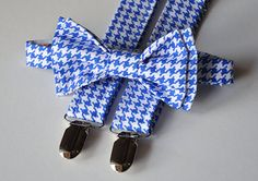 Mens Houndstooth Pre-Tied Bow Tie and Coordinating Suspenders (various colors)