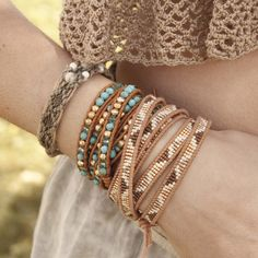 Gold Mix Beaded Wrap Bracelet on Beige Leather - Chan Luu