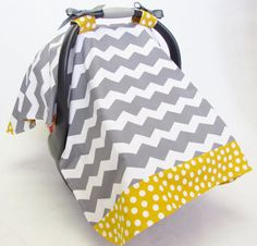 Infant Car Seat Cover Baby Canopy Grey and White by BrightEyedOwl