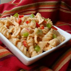 """Buffalo Chicken Pasta Salad   """"For anyone who likes Buffalo wings, this is a great change of pace from normal pasta salad. Really popular as a side dish for a barbecue or just about any gathering you can think of. You can substitute or add many different vegetables with this recipe."""""""