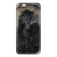 Gothic Friesian Horse - iPhone 6s Case,iPhone 6 Case,iPhone 6s Plus... ($40) ❤ liked on Polyvore featuring accessories, tech accessories, iphone case, iphone cover case, slim iphone case, iphone cases, clear iphone cases and apple iphone cases