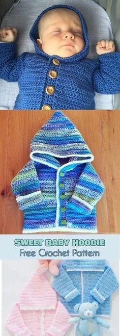 Sweet Baby Hoodie [Free Crochet Pattern] This hoodie looks adorable and is very comfortable. The pattern is easy, good for beginners and grows quickly as you stitch it. You can make it in any colour you need to match the rest of outfit and make it unique by adding a matching edge. #freecrochetpatterns #hoodie #babyboy #babygirl #forkids