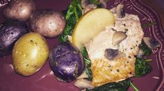 Spice Rubbed Salmon with Mushroom-Apple Pan Sauce and Red, Purple and Yellow Parsley Potatoes #paleofood #fuelyourbody#loveyourtemple#cavewoman#naturalliving