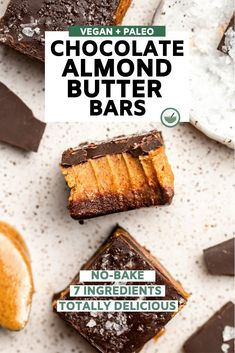 These No-Bake Chocolate Almond Butter Bars are a dream! Made from only 7 ingredients, these healthy and creamy bars are Vegan, Paleo, Vegan Sweets, Vegan Snacks, Vegan Desserts, Healthy Desserts, Vegan Meals, Paleo Chocolate, Chocolate Recipes, Quinoa Bars, Dairy Free Recipes