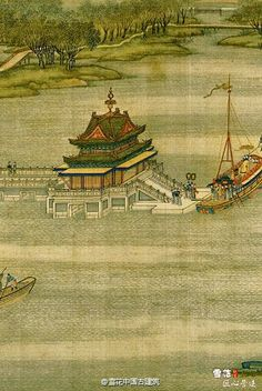 Chinese colour ink painting: a pavilion in the middle of the river in the outskirts of capital city Bianjing, today's Kaifeng
