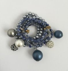 Denim Stretch - Pearl and Midnight Bauble Bracelet Sold individually but pairs beautifully with any of our Denim Stretch Bracelet.